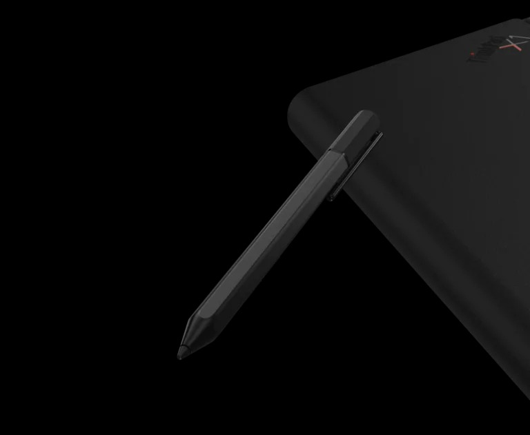 Lenovo Mod Pen and back view of ThinkPad X1 Fold